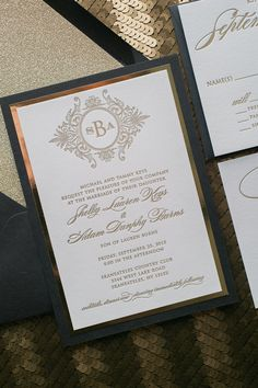 20 Fabulous Sparkly and Fancy Black and Gold Glitter Luxury Monogram Letterpress Wedding Invitations Glitter Wedding Invitations, Wedding Invitation Samples, Letterpress Wedding Invitations, Elegant Wedding Invitations, Bridal Shower Invitations, Wedding Stationery, Letterpress Printing, Invite, Gold Invitations