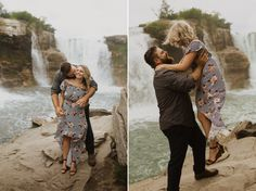 Engagement Photos at Lundbreck Falls in Crowsnest Pass with the couples' dogs in the pictures. Photos by Havilah Heger Photography Engagement Shoots, Wedding Engagement, Wedding Day, Banff National Park, National Parks, My Favorite Part, How Beautiful, I Love Dogs, Big Day