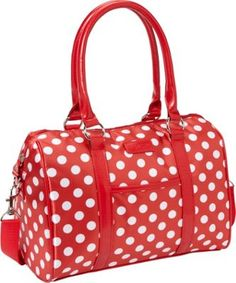 Sachi Insulated Lunch Bags Style 21 Ladies' Lunch Satchel Red Polka Dots - Sachi Insulated Lunch Bag