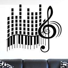Cool Treble Clef Piano Keys and Equaliser Musical Wall Sticker