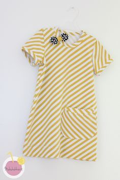 Diagonal stripes jersey from Nosh, dress with bow