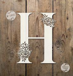 Floral Letter 'H' SVG PDF Design - Papercutting Vinyl Template Commercial Use - Papercut - nursery papercut - new baby papercut Kirigami, Paper Flower Backdrop, Paper Flowers, Paper Cutting Templates, Paper Cut Design, Laser Art, Floral Letters, Stencil Painting, Lettering Design