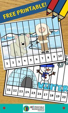 Free Preschool Games, Preschool Puzzles, Winter Activities For Kids, Preschool Winter, Numbers Preschool, Preschool Christmas, Preschool Lessons, Puzzles For Kids, Kindergarten Math