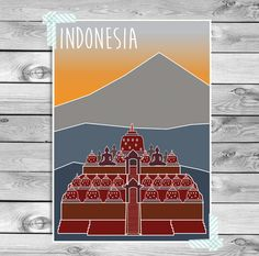 Digital Download: A print of Borobudur in Indonesia. A beautiful temple with Buddha statues, temple bells and beautiful views. This poster is a