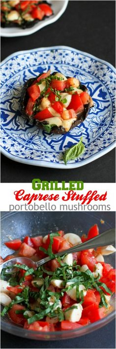 Grilled Caprese Stuffed Portobello Mushrooms…A great vegetarian meal or appetizer! 143 calories and 4 Weight Watchers PP | cookincanuck.com #recipe