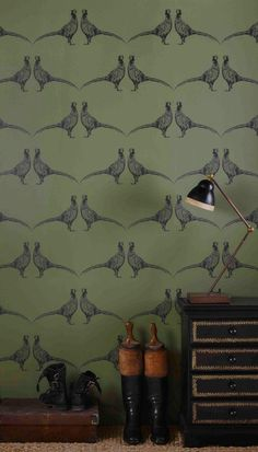 Barneby Gates - Pheasant Camo Green Wallpaper