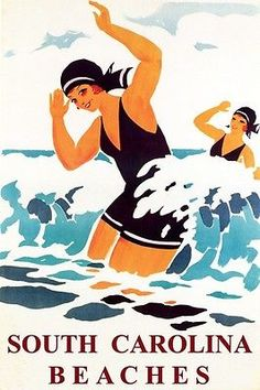 1930s style South Carolina Beaches poster