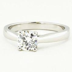 Platinum Petite Tapered Trellis Ring - Set with a 0.78 Carat, Round, Super Ideal Cut, H Color, SI1 Clarity Diamond #BrilliantEarth