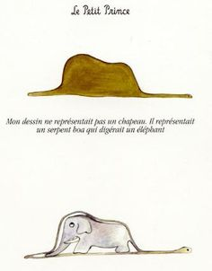 """My drawing was not a hat. It was a boa constrictor digesting an elephant."" The Little Prince by Antoine de Saint-Exupéry #quote"