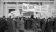 Garment workers protest a boycott against Japanese silk, January 1938. Source: Library of Congress Prints and Photographs Division