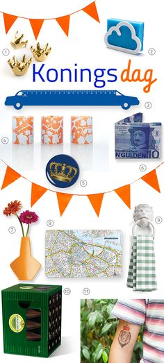 Kingsday in Holland theme! 1. 3 Kings, magnets -#Trendform. 2. Cloudy, Spongeholder - #MonkeyBusiness. 3. Acrylic Ruler, Car blue - #Cedon. 4. Paper Lantern, Jasmin twig - Cedon. 5. Pocket Mirror, Crown - Cedon. 6. Mighty Wallet, Dutch 10 Guilders -Dynomighty. 7. Wallflower Vase, orange - #Cedon. 8. Breadboard, Amsterdam - #Remember. 9. Lion's Head, Towel holder, white - #Monkeybusiness. 10. Cardboard Stool, Beer - #Remember. 11. Lion King, Temporary Tattoo - #Dottinghill.