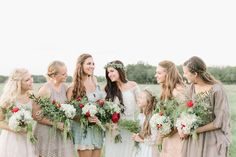 bohemian bridesmaids - photo by Mint Photography http://ruffledblog.com/backyard-brownwood-wedding