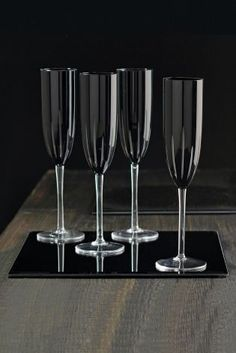 Set Of 4 Black Hand Cut Glass Champagne Flutes from Next