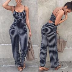 0483b4cc1ba3 Fashion Womens Clubwear Playsuit Bodysuit Summer Striped Sleeveless Sexy Jumpsuit  Romper Chiffon Long Trousers Urban Fashion
