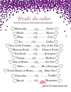 free printable would she rather bridal shower game in purple color