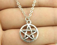 Wholesale 30pcs/lot  women fashion antique silver, antique bronze color hollow Pentagram star pendant necklace