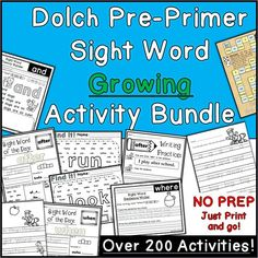 This bundle allows teachers to grab these Dolch Pre-Primer sight word activities at a steep discount!   My intention is to add to this bundle… Pre Primer Sight Words, Sight Words List, Dolch Sight Words, Tracing Sheets, Kindergarten Language Arts, Word Board, Sight Word Activities, Word Of The Day, Teacher Hacks