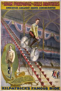 Kilpatrick, the one-legged bicycle rider in his sensational feat of riding down a long flight of steps on a bicycle. It took but 12 seconds to make the ride.   If he could, you can too!