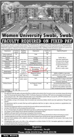 Women University Swabi Jobs 2021 for Public Health and Health Information