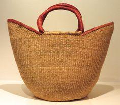 Fibre and leather basket, Ghana