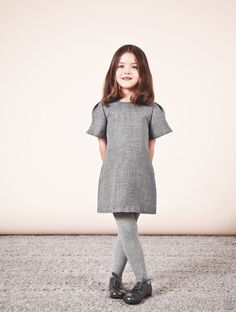 Stunning simple grey wool girls dress from Chloe kidswear for winter 2013
