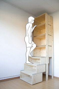 Garage shelving idea: the lower shelves actually glide out so you can step to reach top shelved items. Then they slide back to the wall.   this is genious!