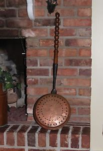 Original Antique Pierced Copper Bed Warmer Warming Pan 17th C Very Rare