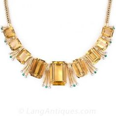 Retro Citrine, Emerald and Diamond Necklace  - Antique & Vintage Necklaces - Vintage Jewelry