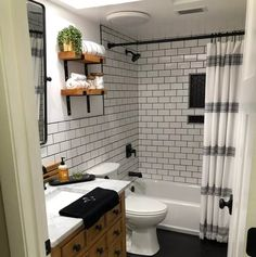 Oak Bathroom, Bathroom Renos, Small Bathroom, Bathroom Ideas, Bathroom Inspiration, Black Shower Curtains, Bathroom Shower Curtains, Upstairs Bathrooms, Dream Bathrooms