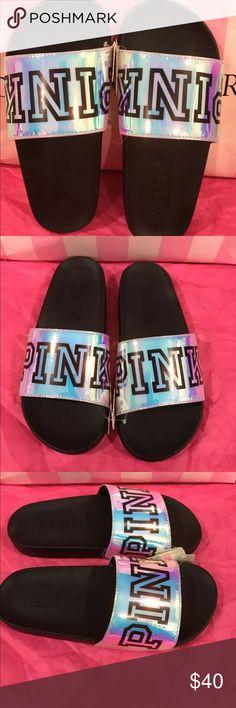 Victoria Secrets Iridescent PINK Slides Brand new, never worn slides with black PINK logo on tops of shoes. Victoria's Secret Shoes Sandals