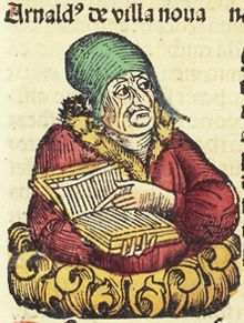 Generic portrait of Arnald[us] de villa noua, woodcut -  1493  c. 1235–1311) was an alchemist, astrologer and physician.  He was born in Valencia. He is credited with translating a number of medical texts from Arabic, including works by Ibn Sina (Avicenna), Qusta ibn Luqa (Costa ben Luca), and Galen.[2] Many alchemical writings, including Thesaurus Thesaurorum or Rosarius. Symphorianus Campegius). Among his achievements was the discovery of carbon monoxide and pure alcohol.