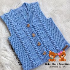 Baby Knitting Patterns, Baby Sweater Patterns, Crochet Baby Jacket, Crochet Baby Sweaters, Baby Boy Vest, Baby Cardigan, Baby Pullover Muster, Boys Sweaters, Warm Outfits