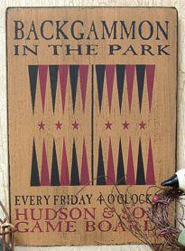 Backgammon Board Sign - Kruenpeeper Creek Country Gifts