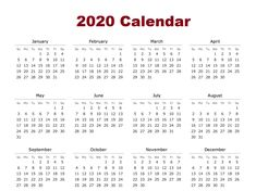 Downloadable Yearly Calendar 2020 Printable PDF Templates | Printable Calendar & Template #calendar2020 #printablecalendar