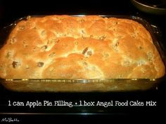 Mix Angel food mix, can any pie filling, pour into 9X13 greased pan, bake at 350 for 25-30 minutes