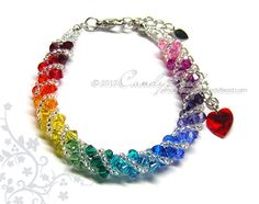 Swarovski bracelet Spectrum rainbow twisty Swarovski by candybead, $15.00