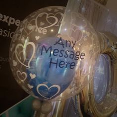 The heart print bubble balloons last weeks and can have any message in any colour on  vipballoons.co.uk