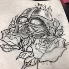 Darth Vader and roses doodle by Jake B