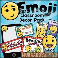 This emoji theme classroom decor pack has everything you need to get ready for the new year! There are editable pages included in packet, you can check out the preview for more details and to see more visuals. Note: Classroom Jobs, Classroom Decor, Classroom Design, Future Classroom, Classroom Organization, Emoji Room, Emoji Decorations, Birthday Bulletin Boards, Alphabet Signs