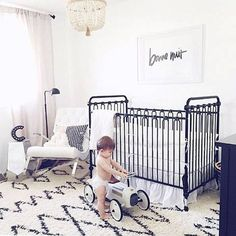 Black and white nursery with contemporary flair