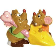 Jaq and Gus with cheese magnetized salt and pepper shaker set from Fantasies Come True