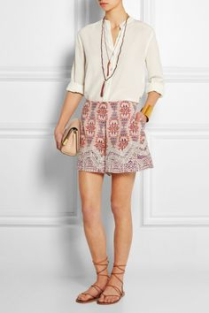 Etro | Lace-paneled printed silk-crepe shorts | NET-A-PORTER.COM