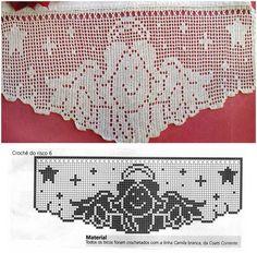 Szydełkomania: Zazdroski świąteczno - zimowe Filet Crochet Charts, Crochet Borders, Crochet Diagram, Crochet Christmas Trees, Christmas Crochet Patterns, Christmas Knitting, Crochet Angels, Crochet Dolls, Doily Patterns