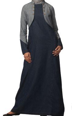 Stylish denim jilbab with mini jacket