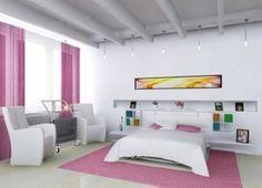 rosa-weiß Schlafzimmer-großes Bett
