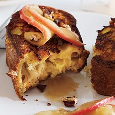 Ciabatta French Toast with Warm Apple Maple Syrup Recipe by cookinglight via myrecipes #French_Toast #Apple #Maple #cookinglight