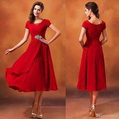 Wholesale Cocktail Dresses - Buy Hot ! New 2014 Red Short Sleeve Ankle Length Scoop Neck Beaded Chiffon Modest Bridesmaid Dresses with Sleeves, $89.99   DHgate
