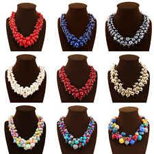 Multilayer Gold Chain Colorful Bead Bib Statement Chunky Necklace Collar Jewelry