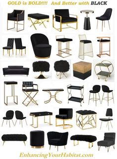 Black & Gold Furniture Black & Gold Home Accessories Black Velvet and Gold Metal. Black & Gold Furniture Black & Gold Home Accessories Black Velvet and Gold Metal Furniture Black and Gold Barstools dining chairs lounge chairs counte.