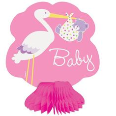 "Mini 6"" Honeycomb Pink Stork Baby Shower Decorations, 4ct"